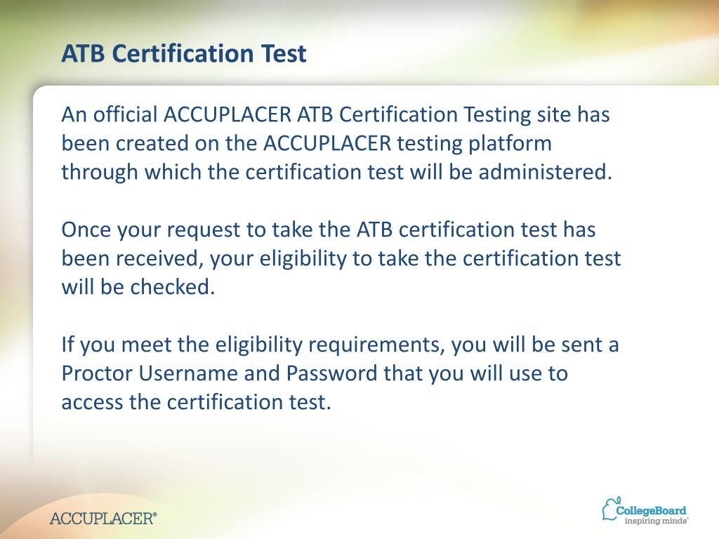 PPT - Certification Training for Ability to Benefit Test