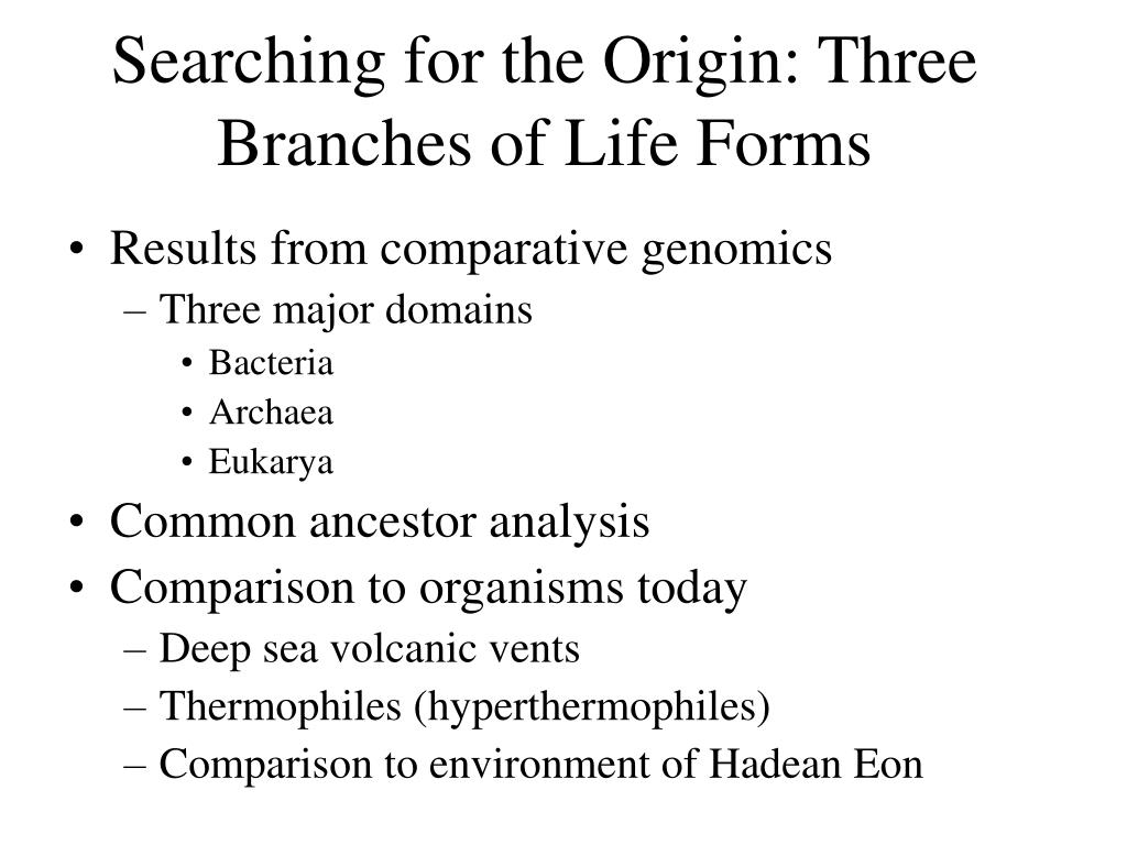 Searching for the Origin: Three Branches of Life Forms