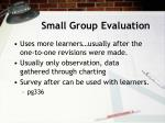 small group evaluation