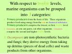 with respect to trophic levels marine organisms can be grouped into 3 categories8