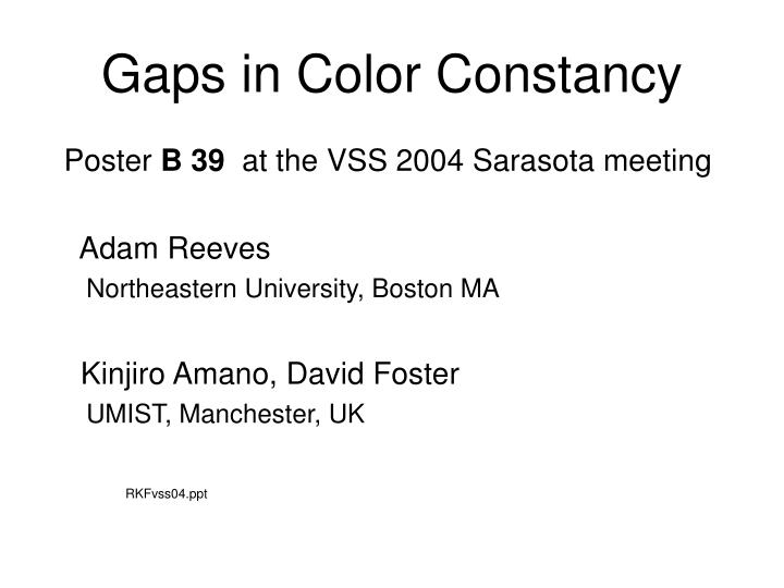 gaps in color constancy n.