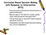 curriculum based decision making with response to intervention rti