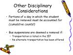 other disciplinary considerations