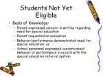 students not yet eligible
