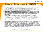 research focuses in indire