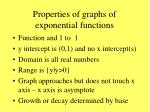 properties of graphs of exponential functions