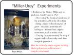 miller urey experiments