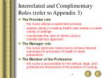 interrelated and complimentary roles refer to appendix 3