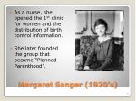 margaret sanger 1920 s