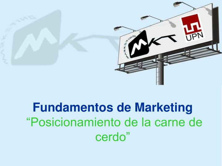 fundamentos de marketing posicionamiento de la carne de cerdo n.