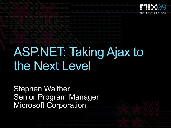 asp net taking ajax to the next level n.