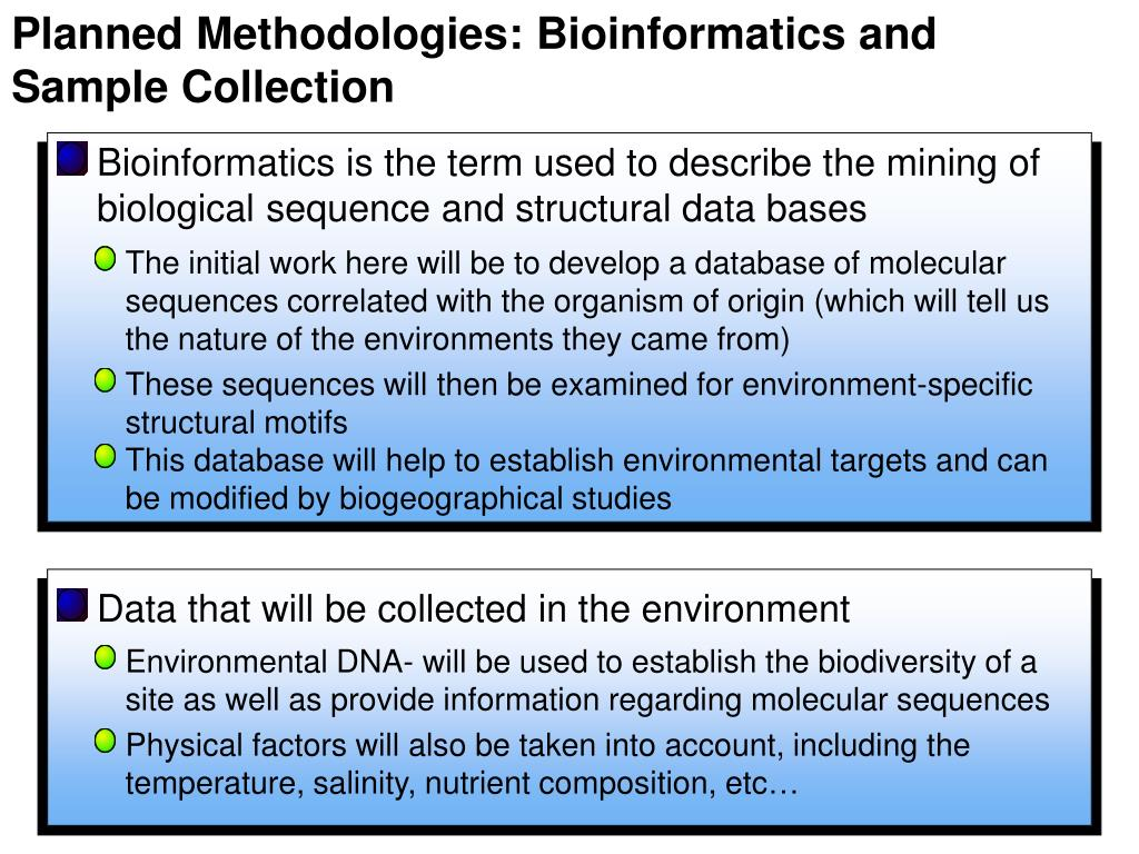 Planned Methodologies: Bioinformatics and Sample Collection