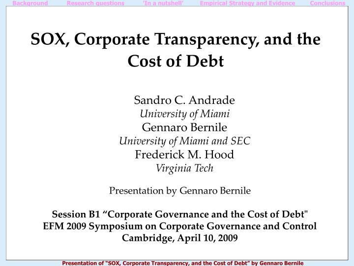 sox corporate transparency and the cost of debt n.