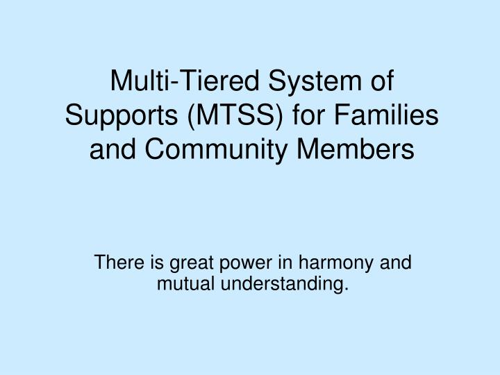 multi tiered system of supports mtss for families and community members n.
