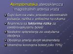 asimptomatska ateroskleroza magistralnih arterija vrata