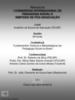 abertura do i congresso internacional de pedagogia social e simp sio de p s gradua o