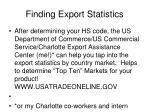 finding export statistics