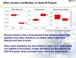 effort duration and mistakes on global bi projects