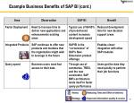example business benefits of sap bi cont