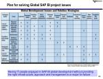 plan for solving global sap bi project issues