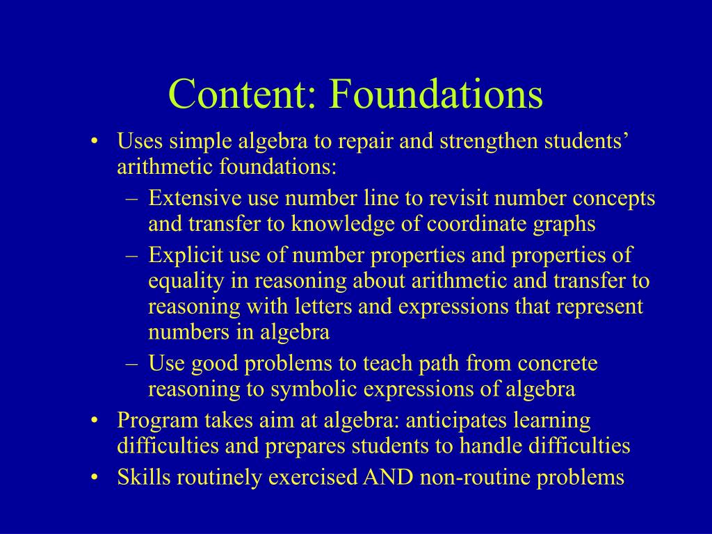 Content: Foundations
