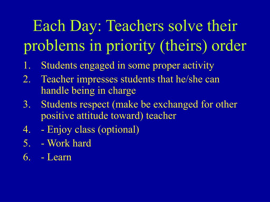 Each Day: Teachers solve their problems in priority (theirs) order