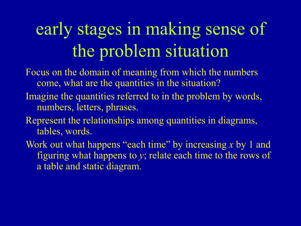 early stages in making sense of the problem situation