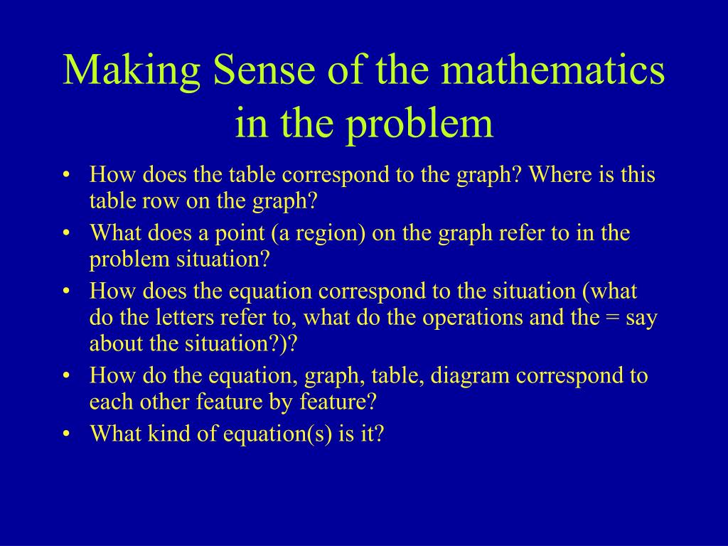 Making Sense of the mathematics in the problem