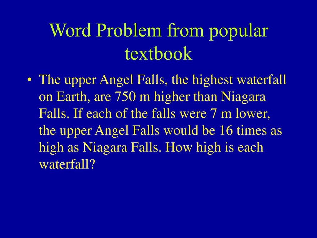 Word Problem from popular textbook