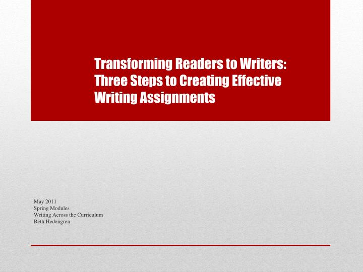 transforming readers to writers three steps to creating effective writing assignments n.