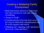 creating a validating family environment