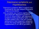 depressive symptoms and hopelessness