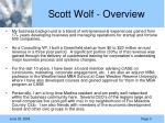 scott wolf overview