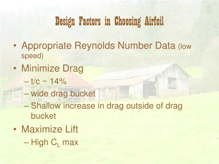 Design Factors in Choosing Airfoil