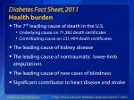 diabetes fact sheet 2011 health burden
