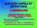 quelques rappels et definitions8