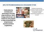 wp yw promieniowania na organizmy ywe1