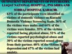 outpatient departments of psychiatry liaqat national hospital pns shifa and sobraj hospital karachi