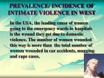 prevalence incidence of intimate violence in west