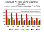 employee worker s comp experience modifier compared to other ut health components fy 98 fy 04