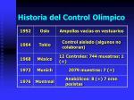 historia del control ol mpico