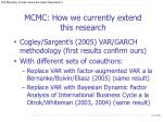 mcmc how we currently extend this research