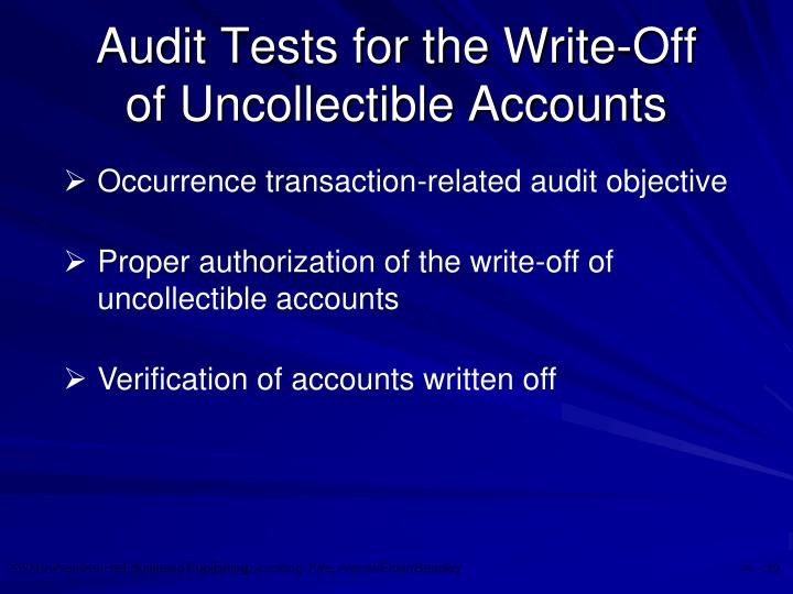 Audit Tests for the Write-Off