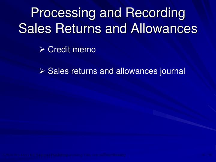 Processing and Recording Sales Returns and Allowances