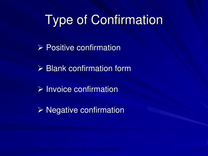 Type of Confirmation