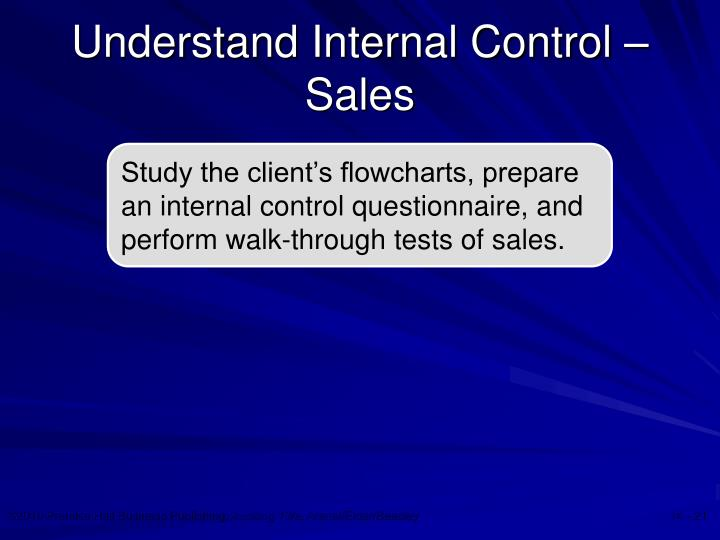 Understand Internal Control – Sales