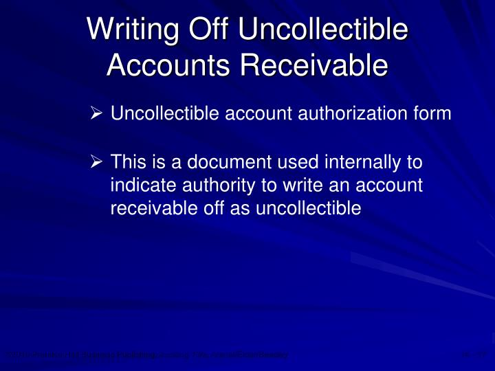 Writing Off Uncollectible