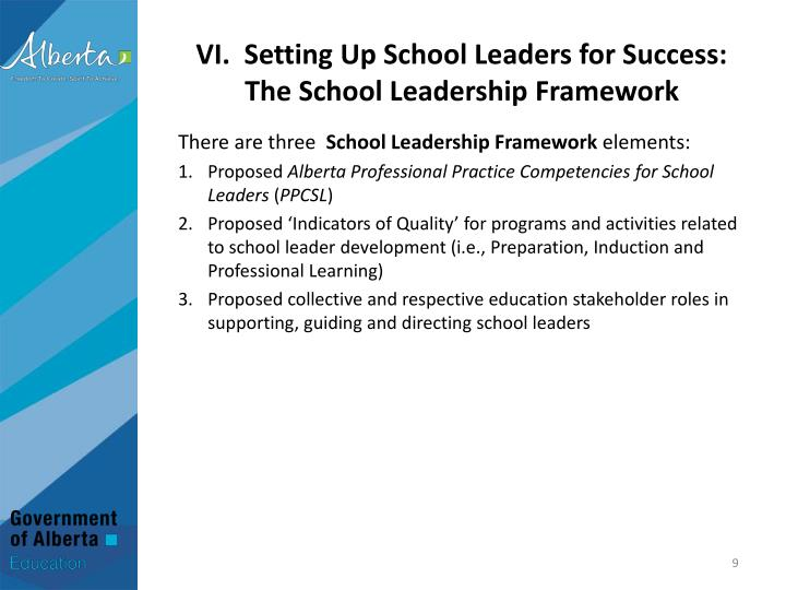 VI.  Setting Up School Leaders for Success: