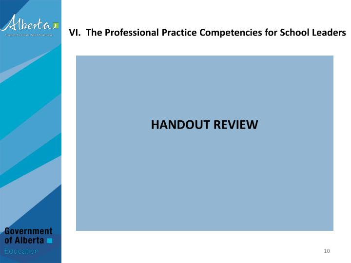 VI.  The Professional Practice Competencies for School Leaders