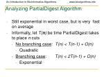 analyzing partialdigest algorithm